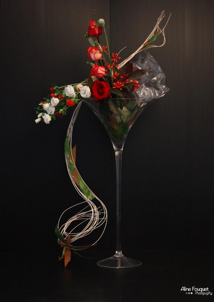 Composition florale vase Martini